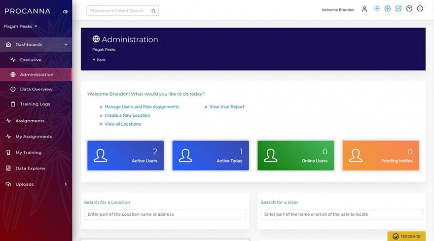 Screenshot Of ProCanna Software - Admin Tab